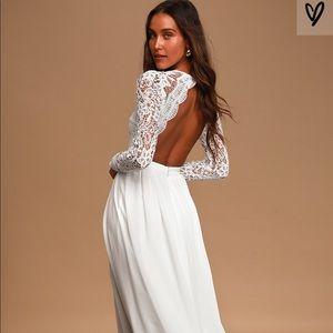 Lulus White Long Sleeve Lace Maxi Dress